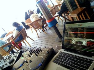 Beach bar DJing
