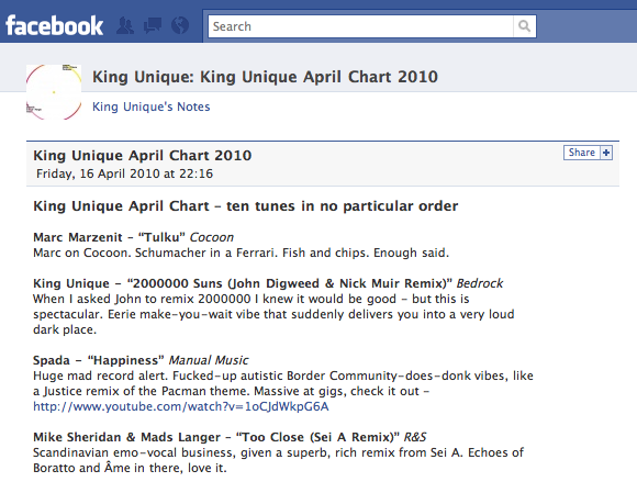 A DJ chart (this one is from King Unique) as posted on Faceboo