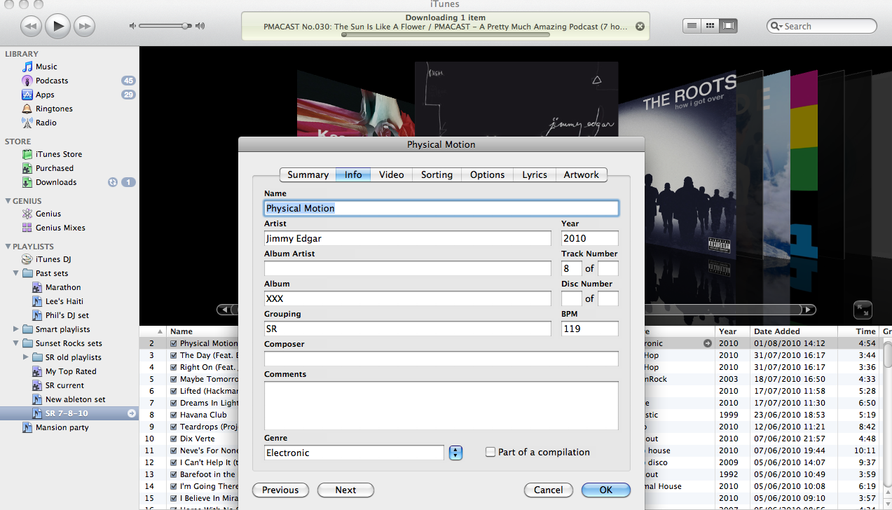 Editing ID3 tags in iTunes.