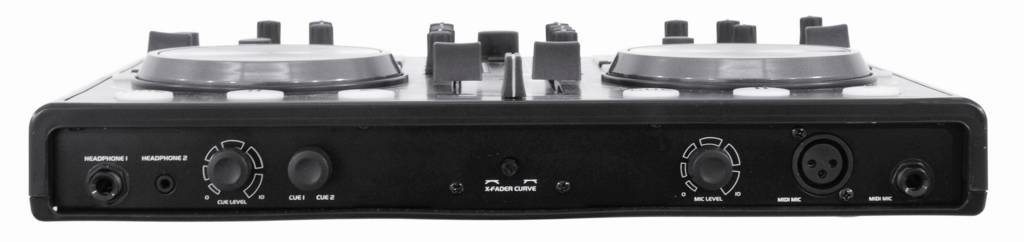The TMC-2's front panel includes a crossfader curve control and balanced mike input.