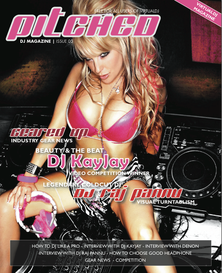 The cover of the latest edition of Virtual DJ's Pitched magazine for digital DJs.