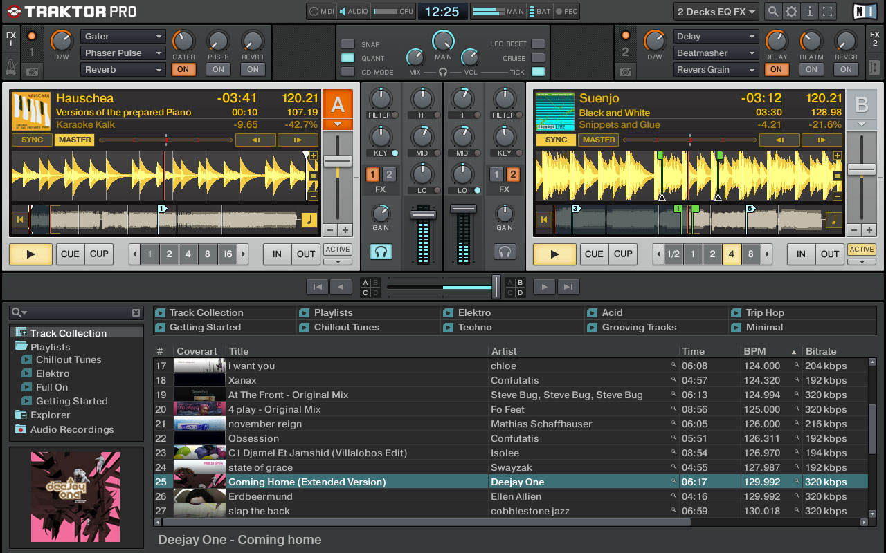 With all its other features, there's little physical room for browsing and sorting music in Traktor.