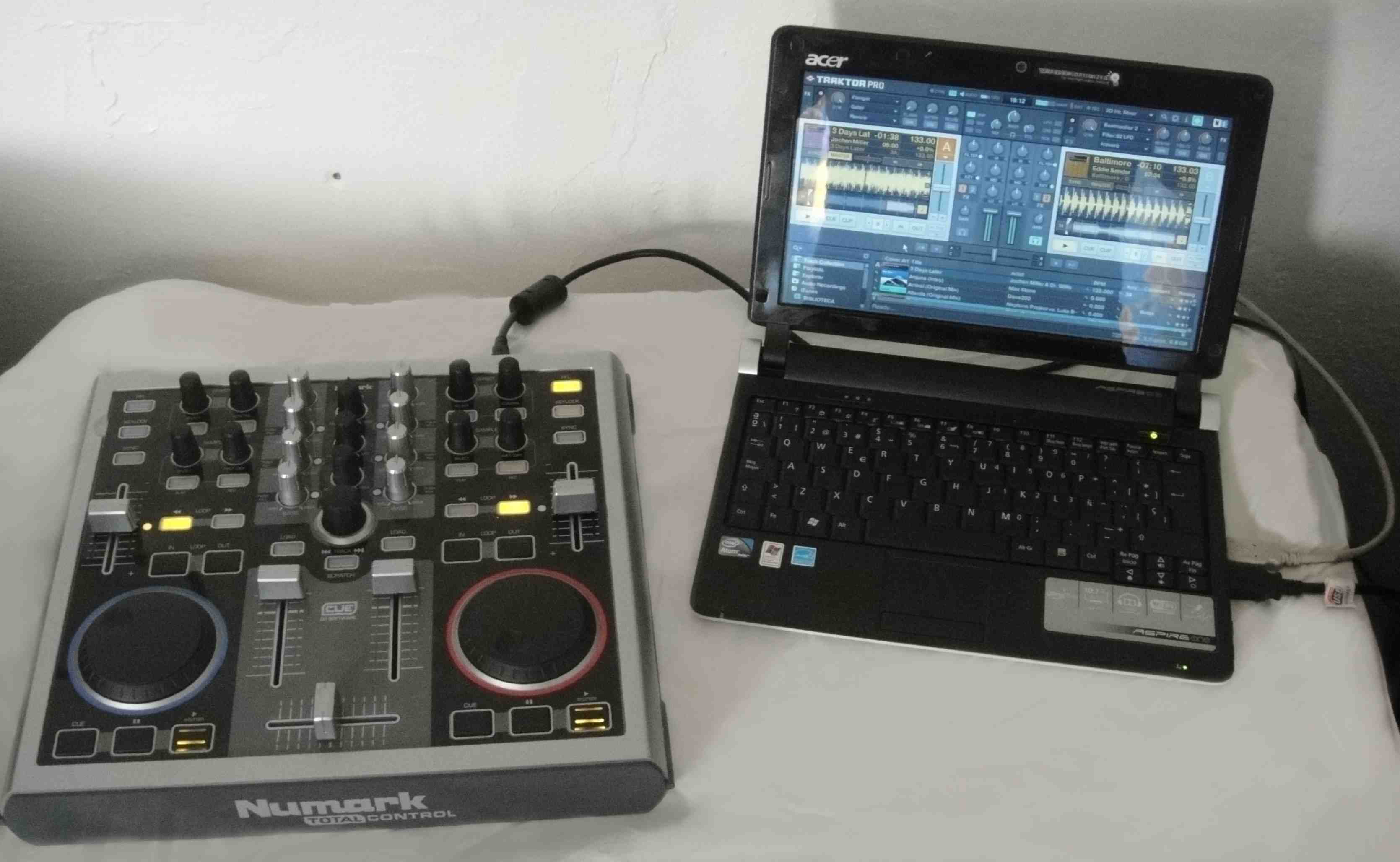 A Numark Total Control and a netbook