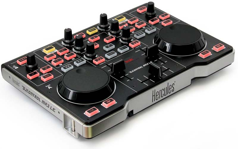 The Hercules DJ Control MP3 e2. You\'ll need a sound card too before you can use it properly.