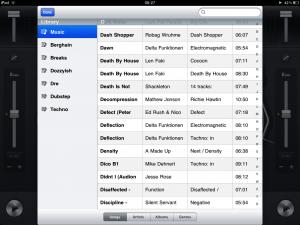 djay for iPad fullscreen track picker