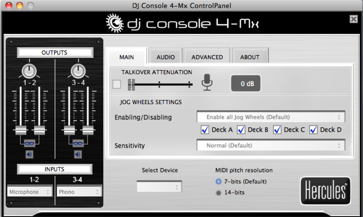 DJ Console 4-Mx ControlPanel software