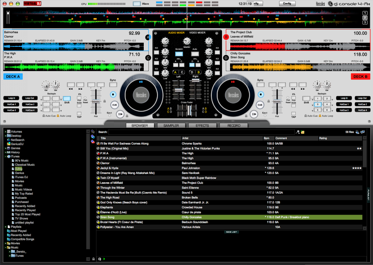 Hercules 4-Mx Virtual DJ software