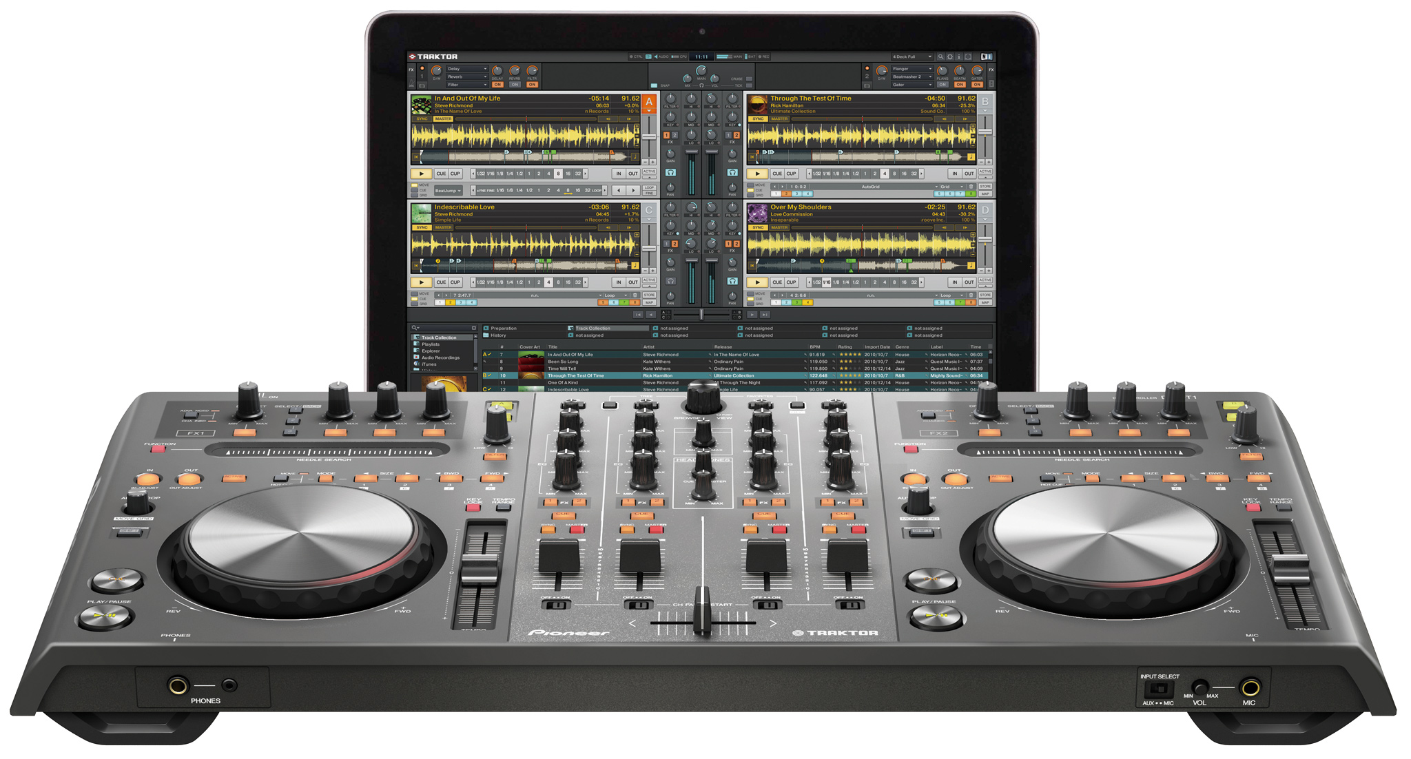 The Pioneer DDJ-T1 has no booth monitor output or VU meters.
