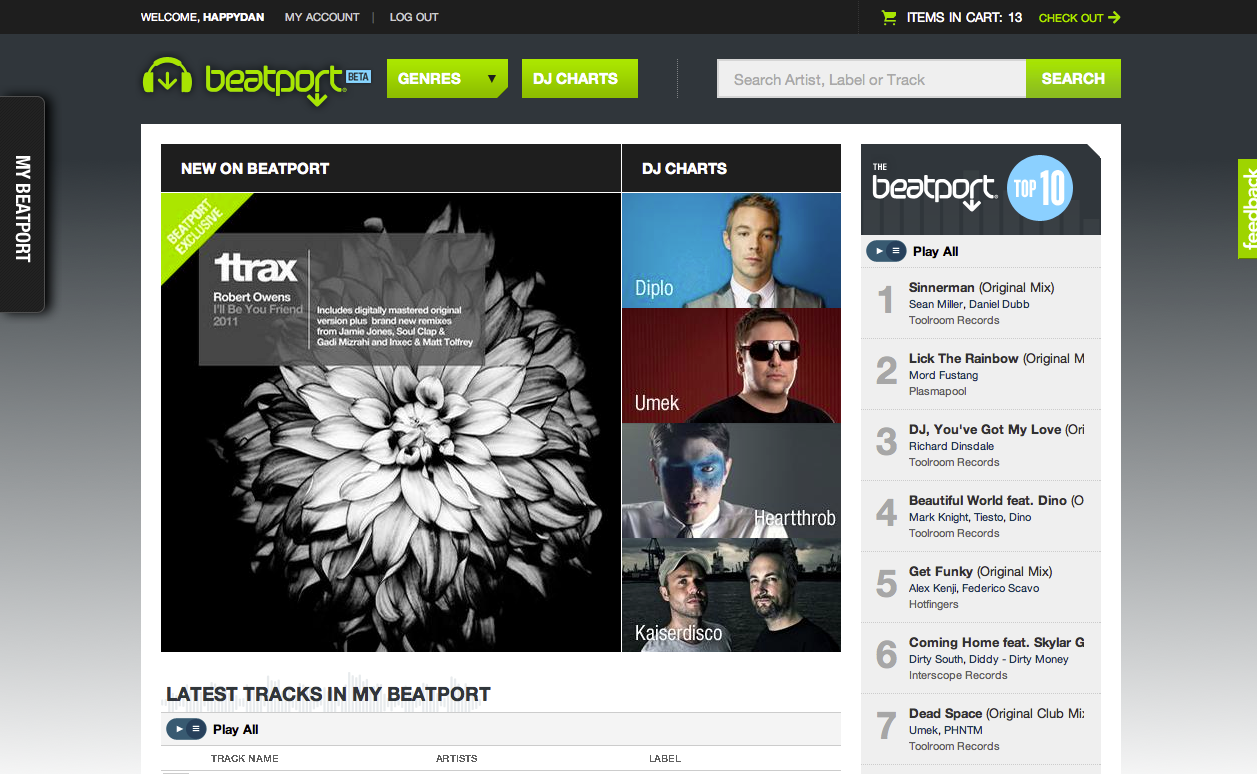 New Beatport home page