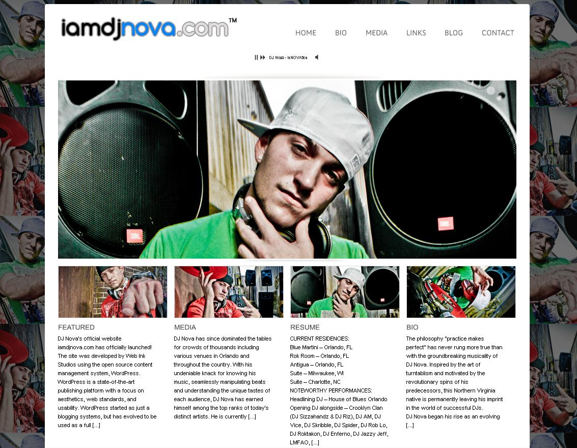 A typical DJ website: DJ Nova.
