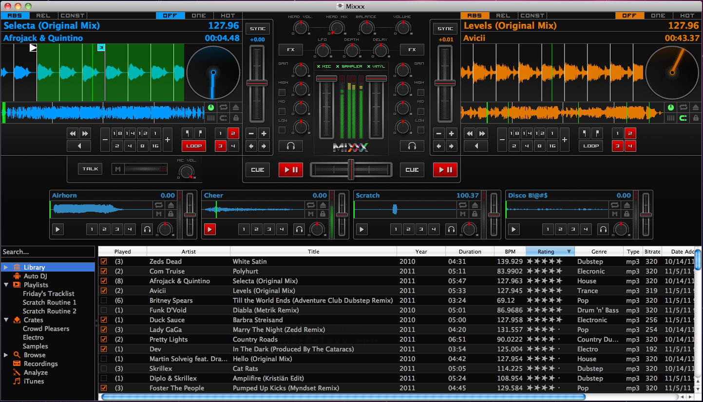 Mixxx 1.10.0 review - hello to sample decks, multiple timecode support and, erm, spinny round things! (Click to enlarge.)