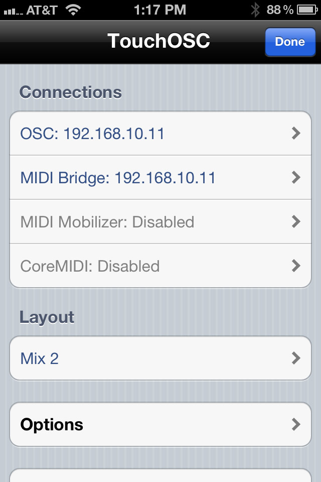 Sample touchOSC settings