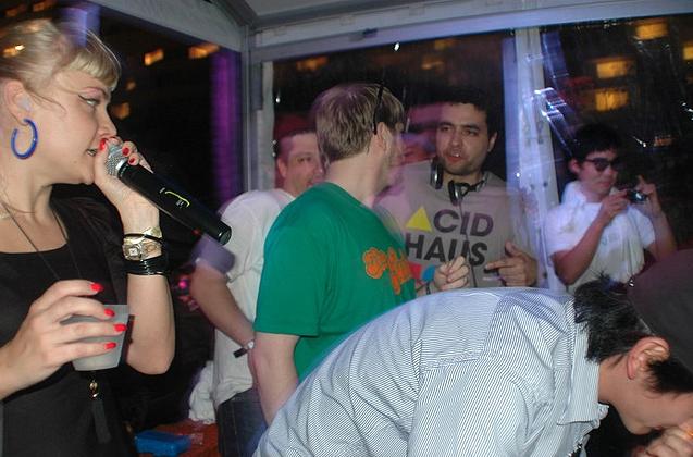 Cramped DJ booth