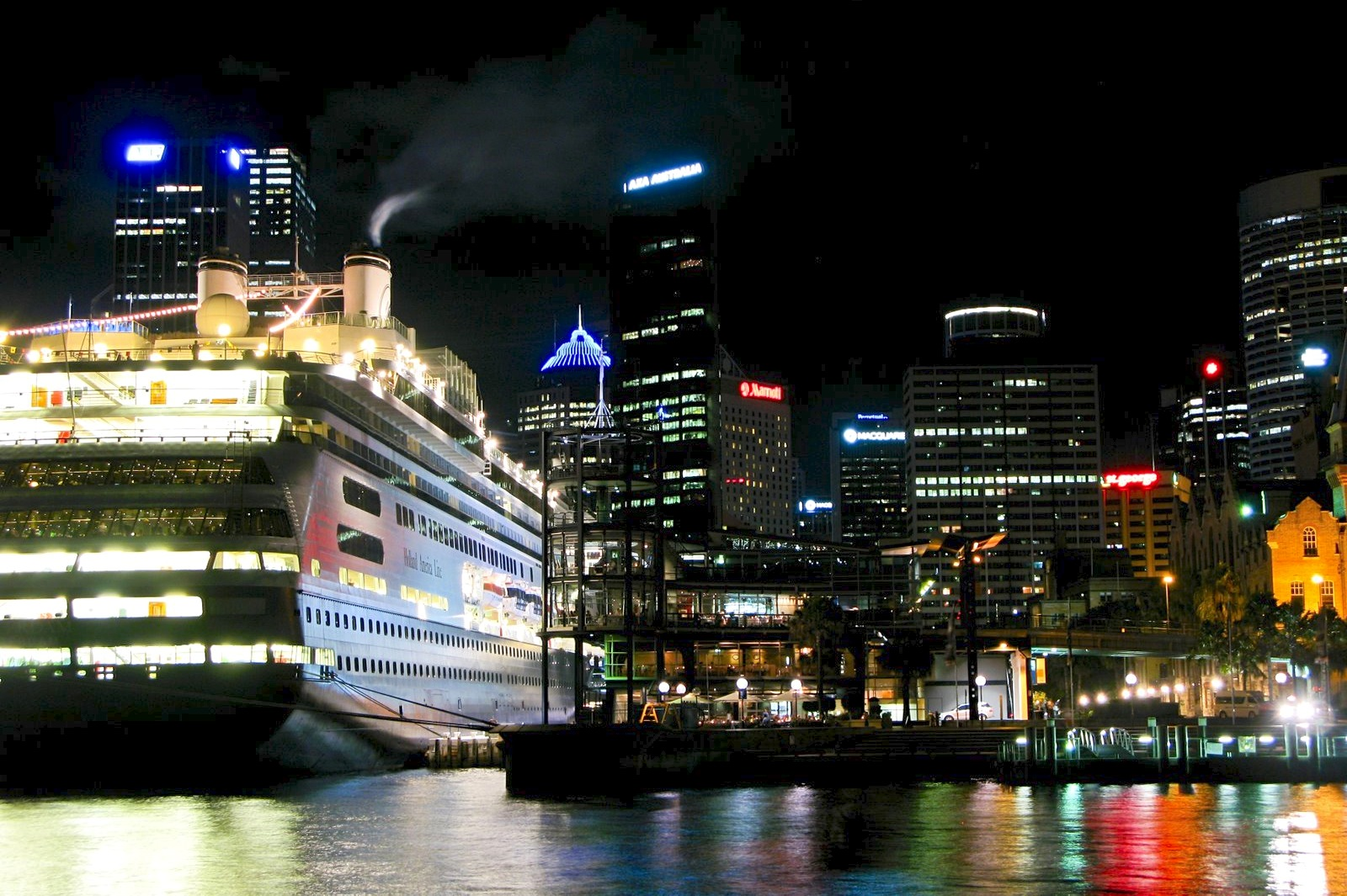 Cruise ship in Circular Quay at night