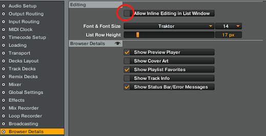 Disable in-line editing