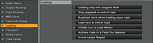 Initially cue to load marker Traktor