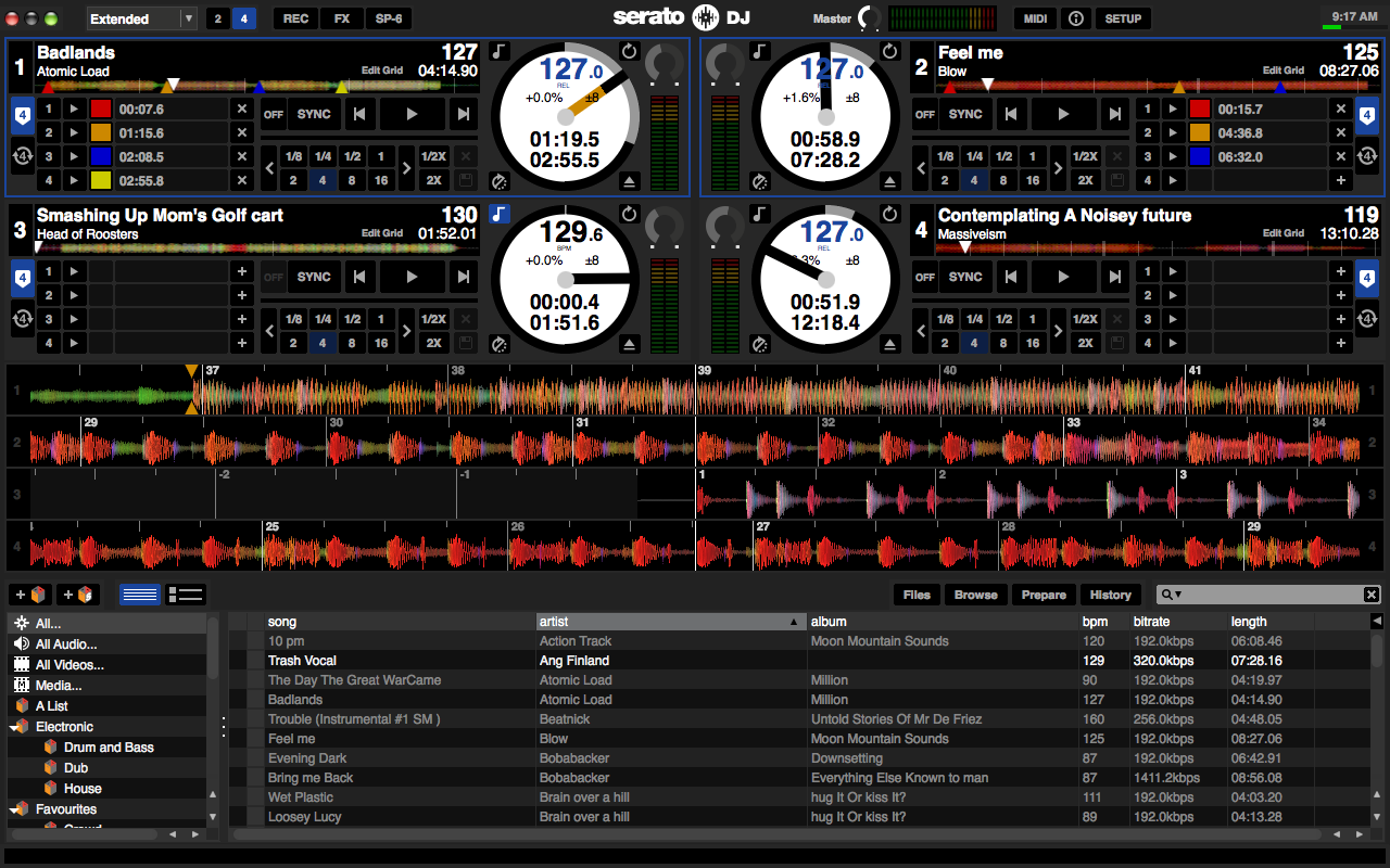 Serato DJ 4 Deck View (extended waveforms)