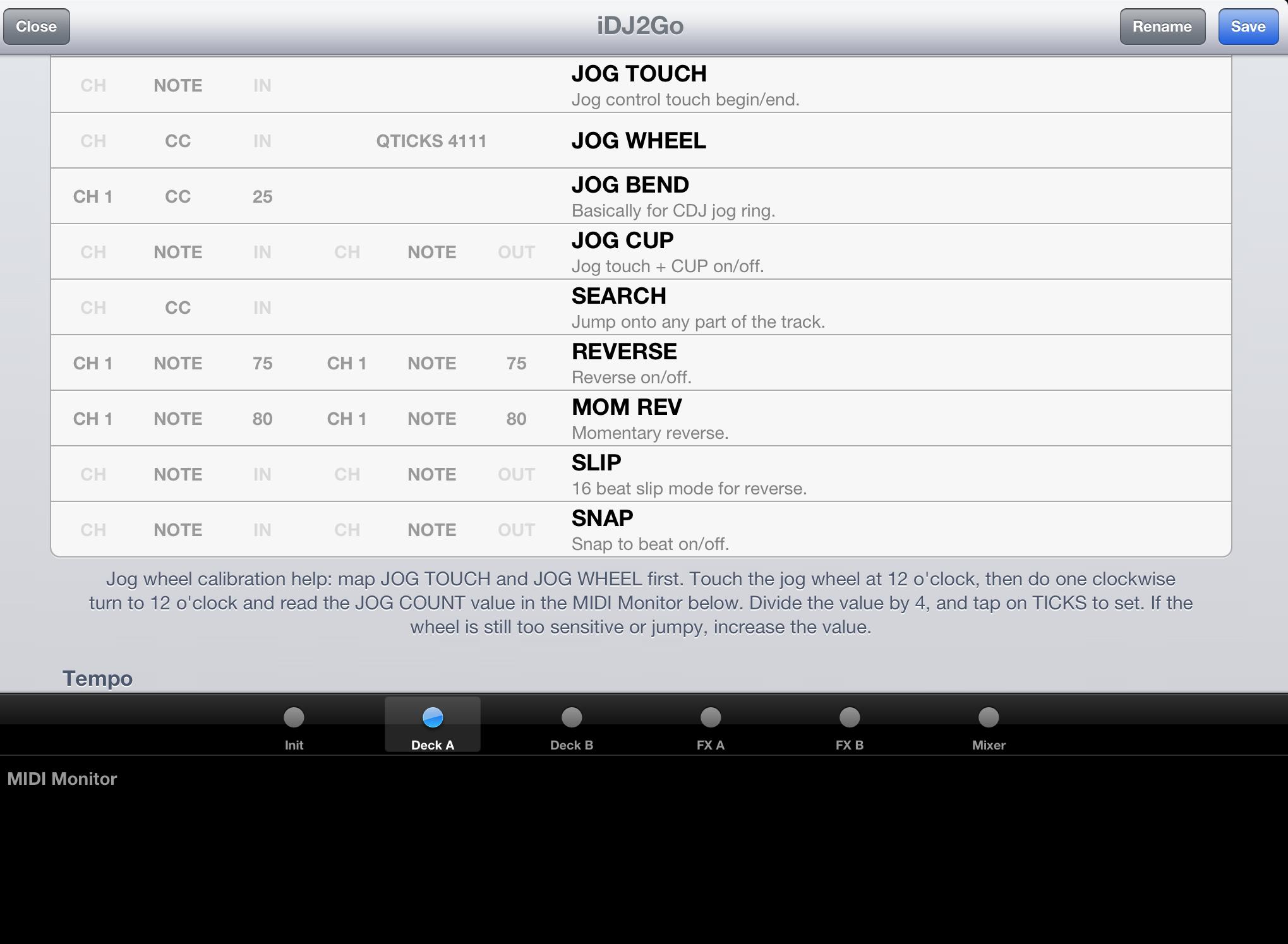 DJ Player Midi Mapping Screen