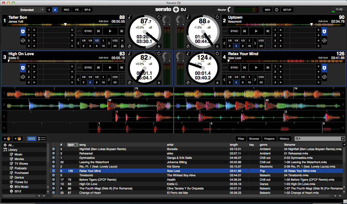 The Serato DJ four-deck extended mode