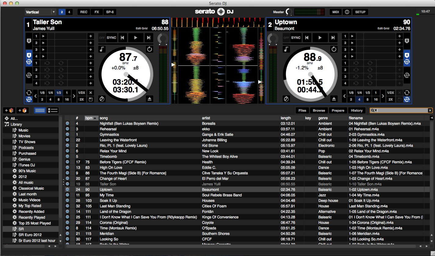 Serato DJ main screen