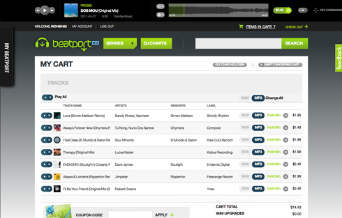 Beatport cart