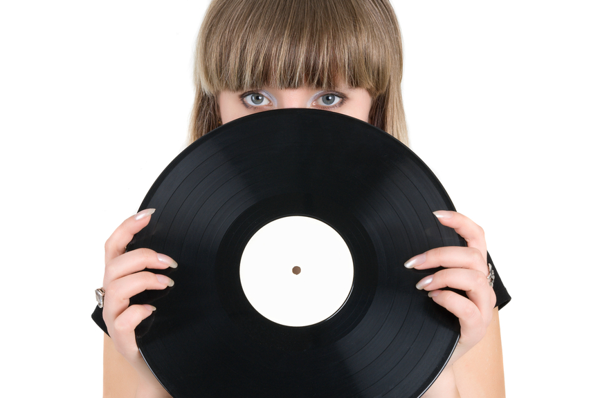 Girl with vinyl disc
