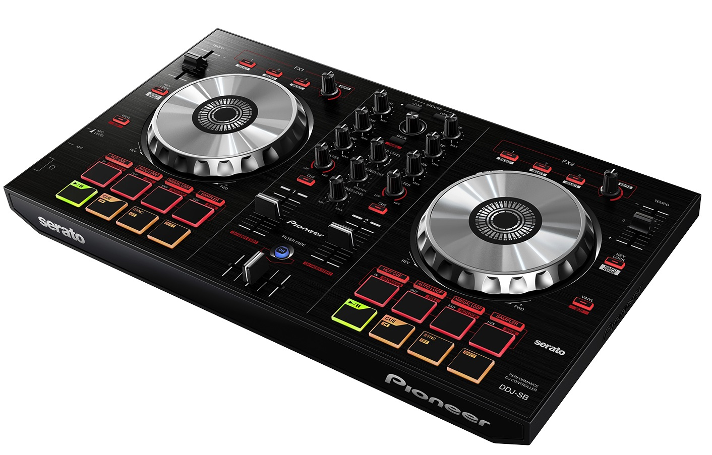 Smaller than the DDJ-SX and the more compact DDJ-SR, the DDJ-SB is Pioneer's new entry level Serato DJ Controller. (Click to enlarge.)
