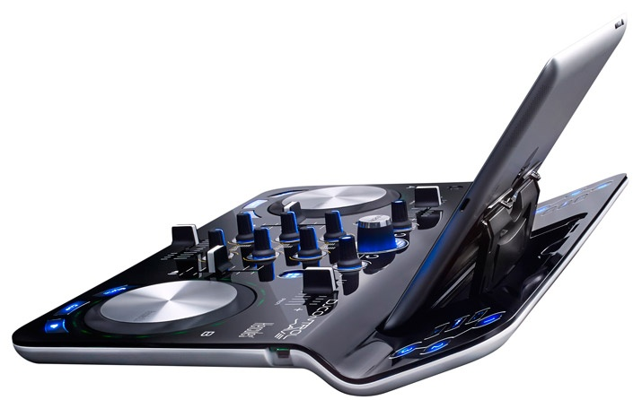 The DJControlWave has a convenient stand for your iPad.
