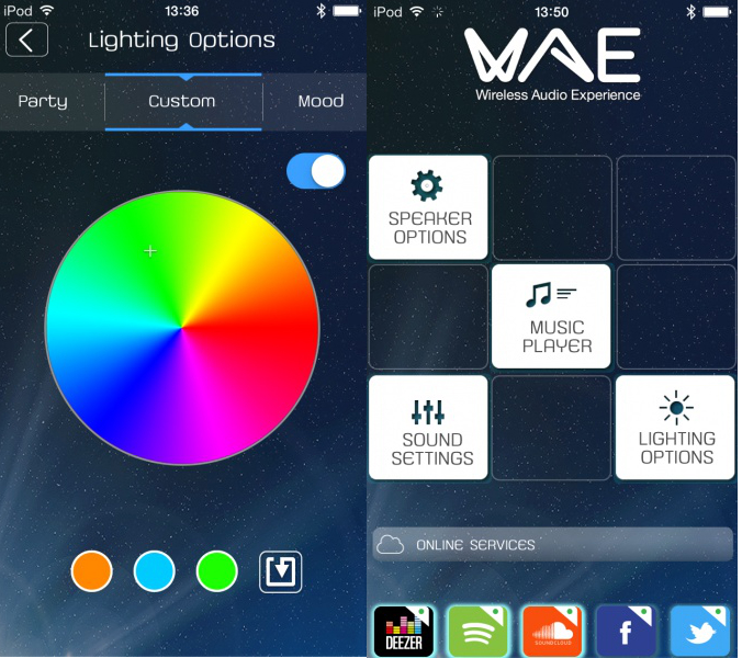 The WAE App gives you control over the WAE NEO's lights as well as your music playlist.