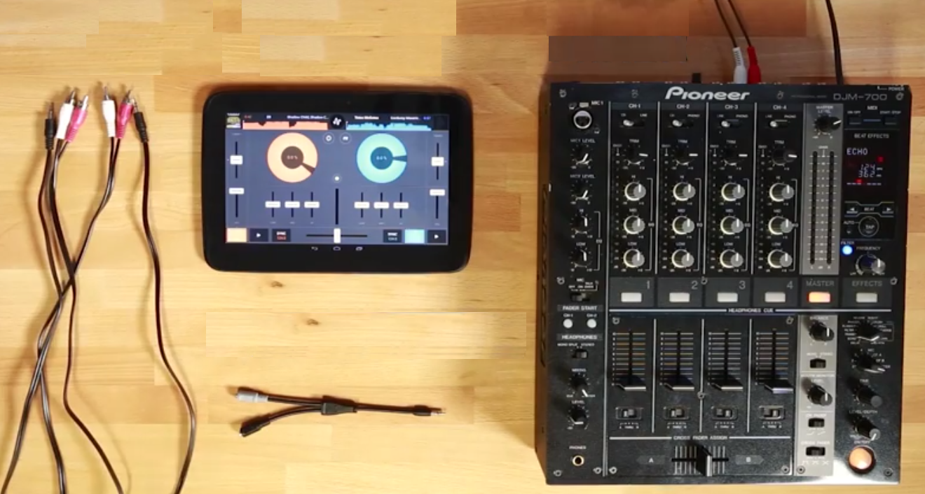 DJ splitter cable? Check. Old school mixer? Check. RCA cables? Check. Er, Android device? Check! Time to start DJing...