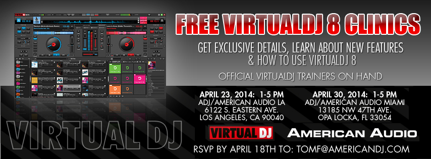 If you live in the US, this is your chance to get a first hand look at the brand new version of Virtual DJ 8, courtesy of the folks over at American DJ!