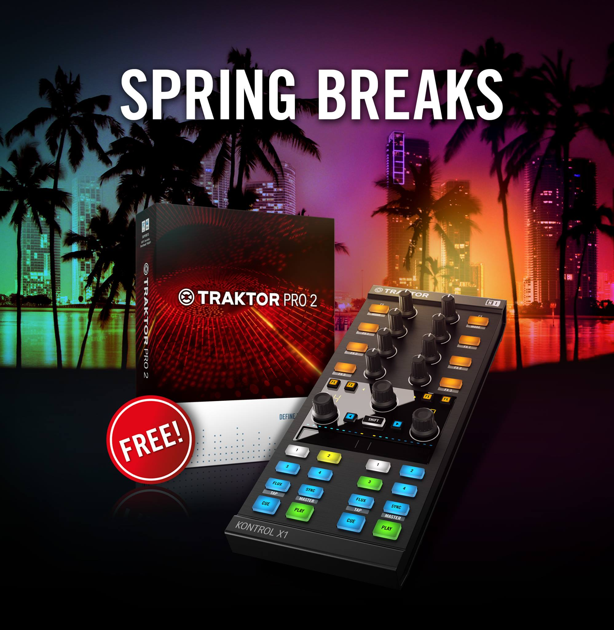 For a limited time, get a free copy of Traktor Pro 2 with every purchase of the Traktor Kontrol X1 controller.