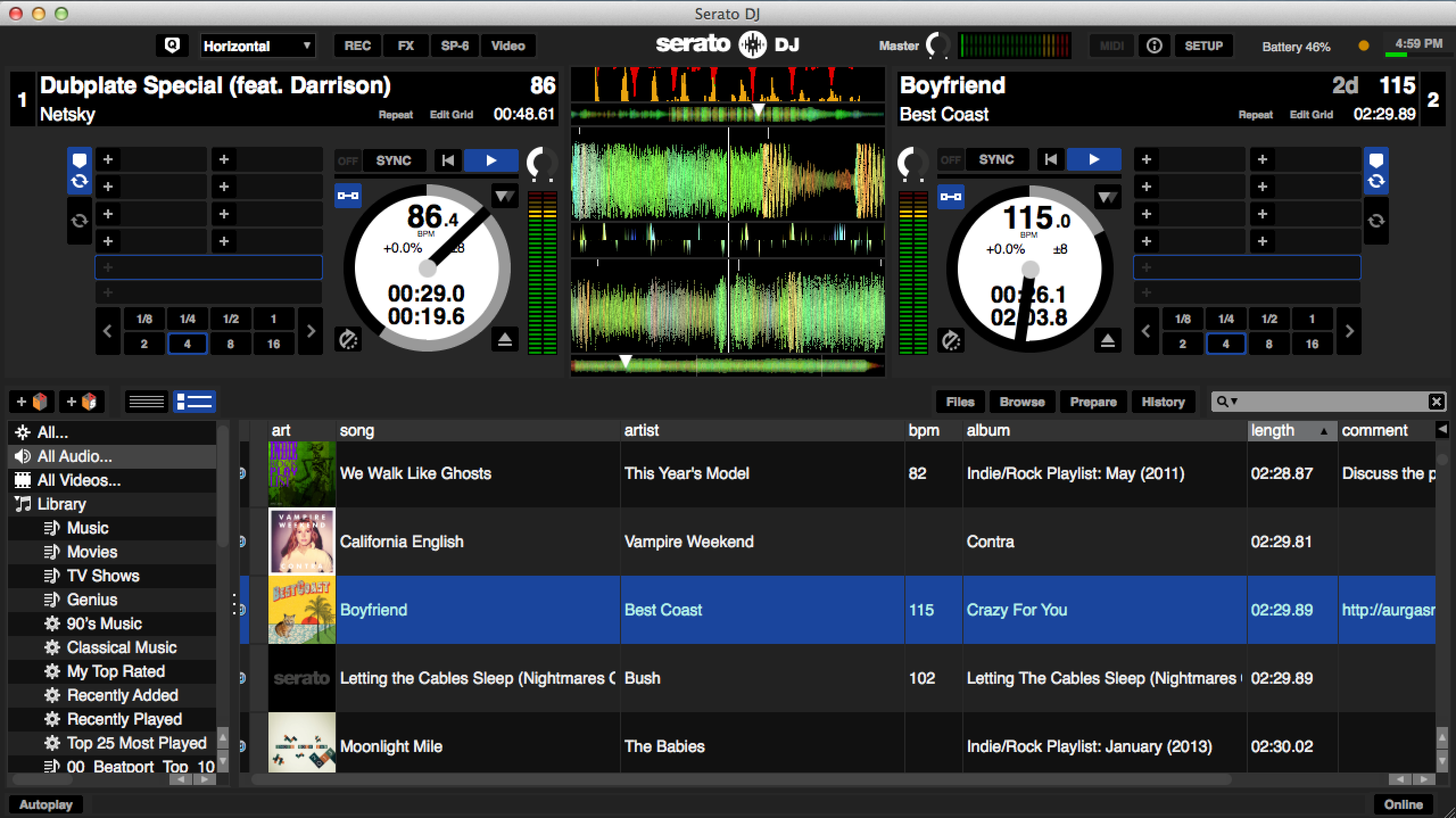 Serato DJ has four ways to view your waveforms depending on your preference. This one shows the Beat Match Display as well as the Tempo Match Display.