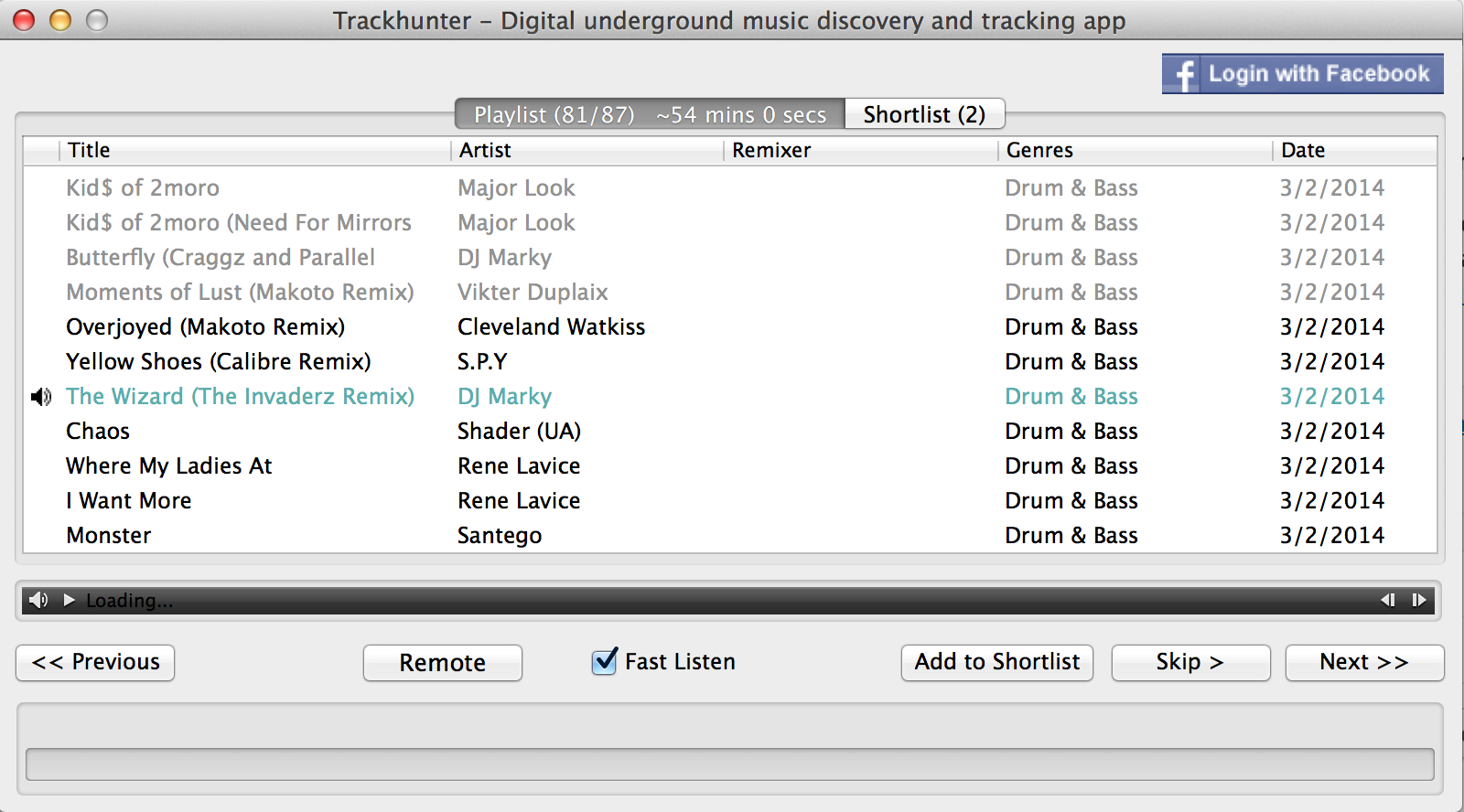 Step 4. Audition songs either manually by skipping through them or automatically by ticking the Fast Listen box.