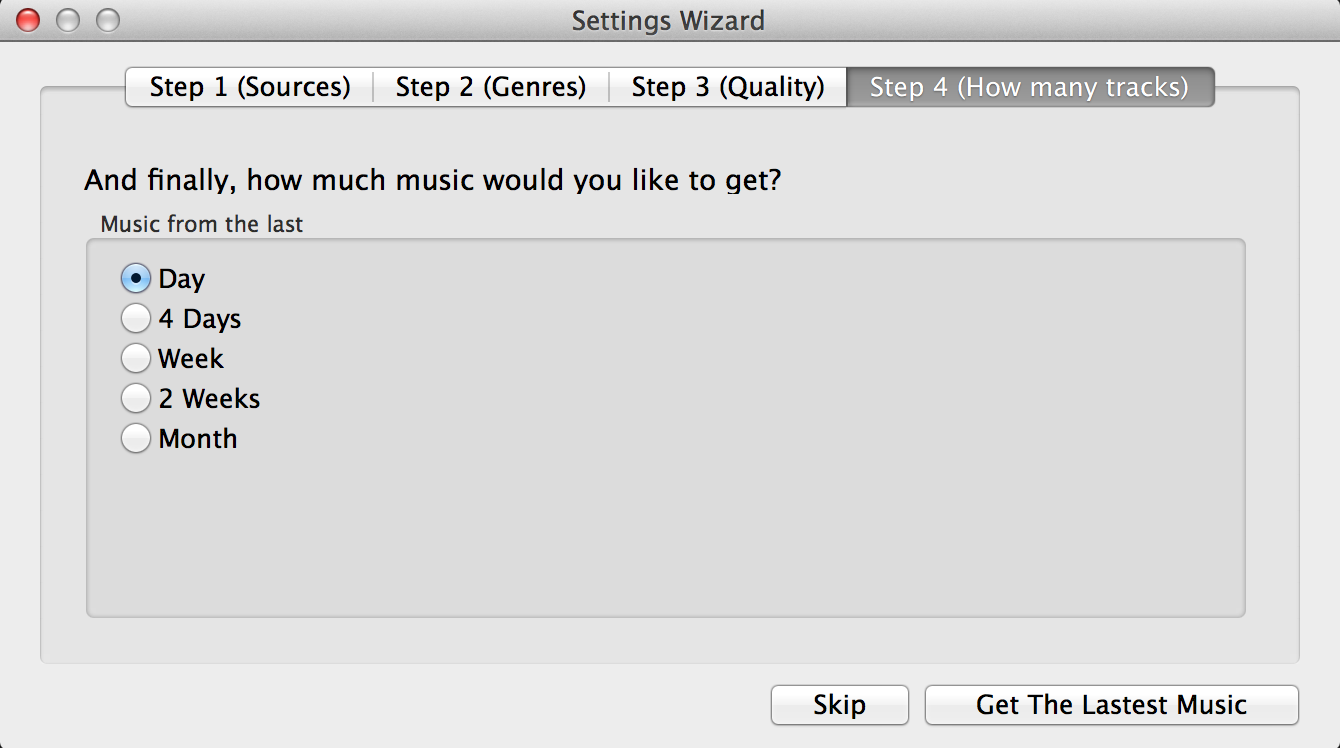 Step 3. Specify file format and how recent you'd want your music search results to be.