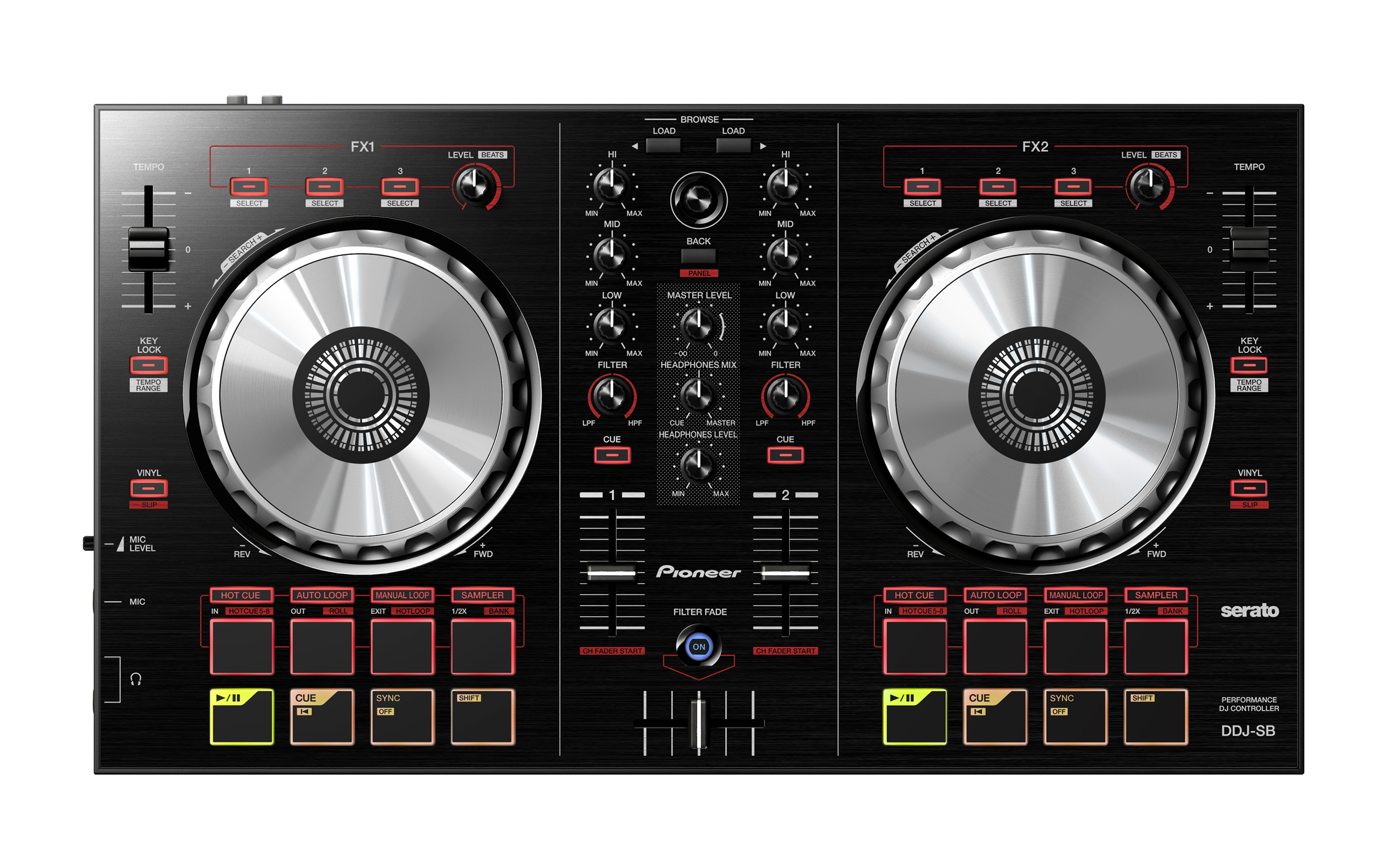 The Pioneer DDJ-SB is the company's entry level controller for beginner and home DJs. It has the basic functionality of its fuller featured siblings the DDJ-SR and SX at an attractive price point.