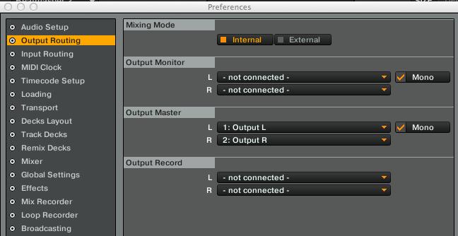 Traktor's 'mono' options in the audio output settings. Serato has a similar option.