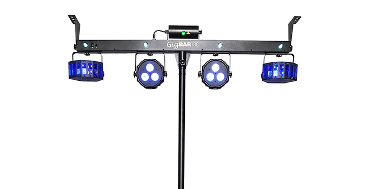"""The view of the unit from the front, showing the four """"main"""" lights, the four mini-strobes, plus the laser."""