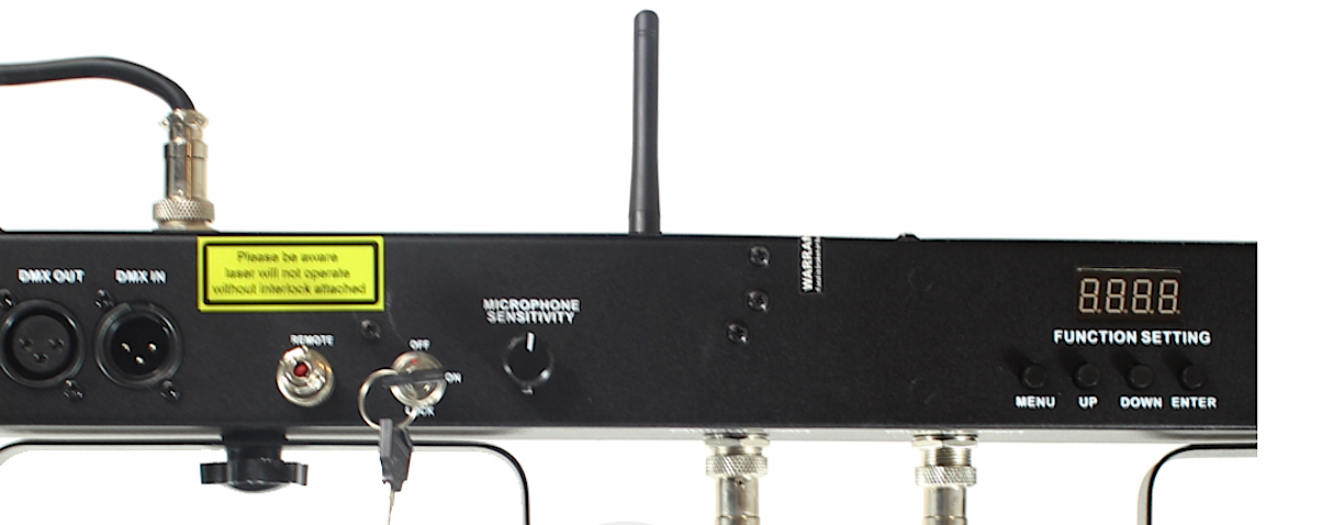The rear, showing the mic, mic sensitivity adjuster, and the four buttons and LED readout for adjusting the modes.