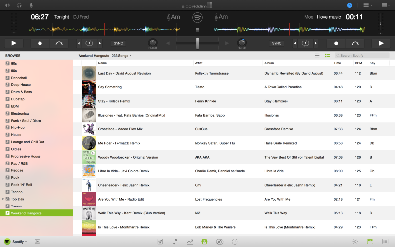 Algoriddim's djay Pro for Mac has Spotify baked right in, but it only works online (ie you can't DJ with offline copies of the music).