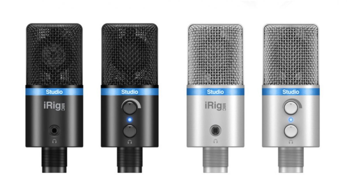 The iRig Studio Mic stand comes in two colours, and has controls for input level and headphones volume, plus a three-colour LED to show mic volume, and a headphones socket.