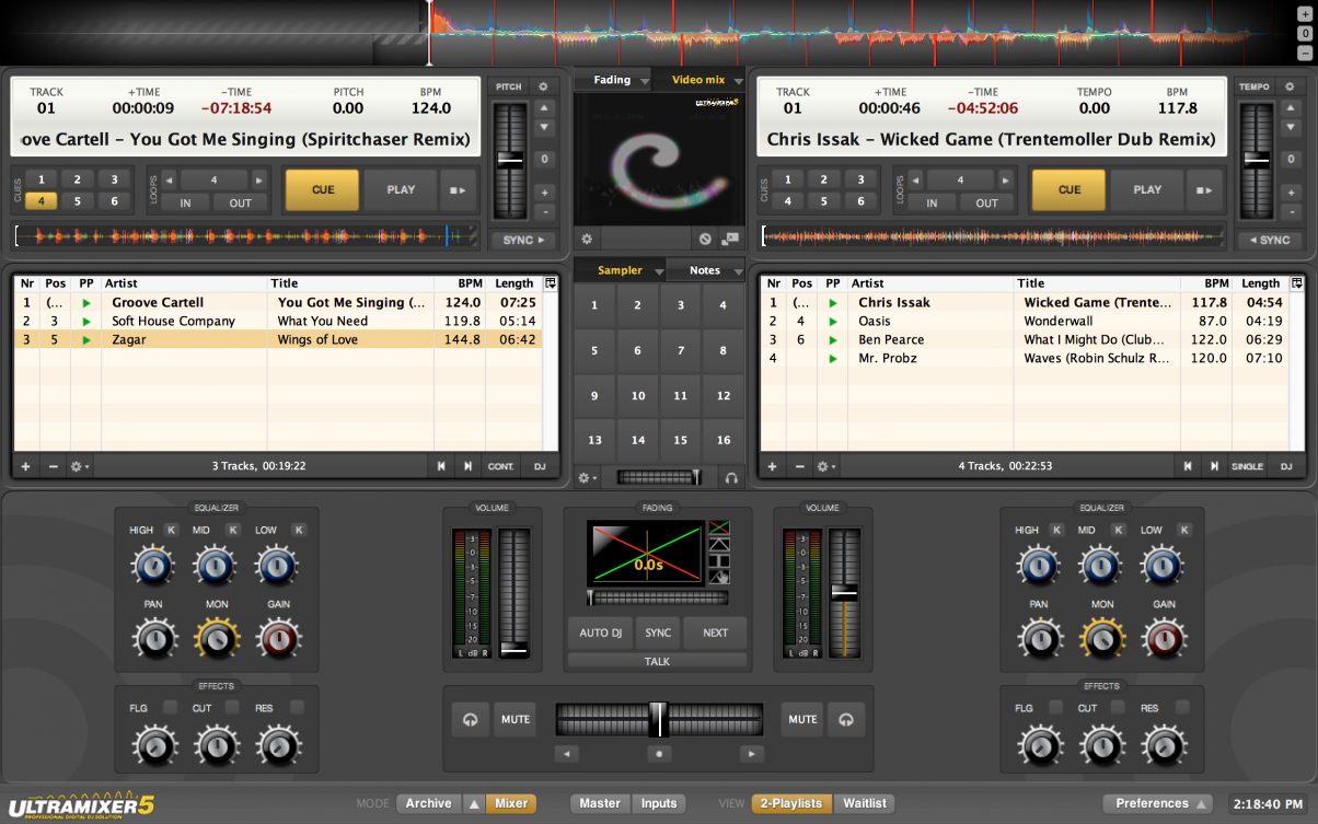 The twin playlist view is unique to UltraMixer, and will help busy DJ/entertainers  to blur the line between mixing themselves and having the software do it ...