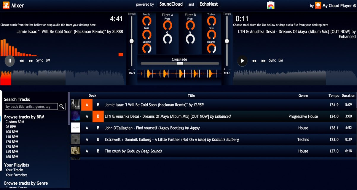 My Cloud Player is an advanced SoundCloud music player that comes with a basic two-channel DJ interface and the ability to broadcast your SoundCloud listening stream.