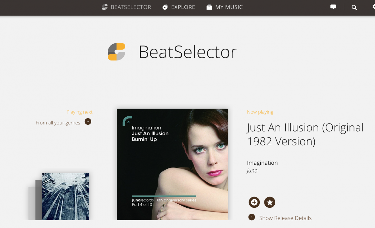 The BeatSelector on the Pulselocker site attempts to be your go-to playlist of interesting new stuff in your chosen genres (this was 80s club, by the way, hence the track from 35 years ago...), although it'd be far better on mobile for this kind of thing.