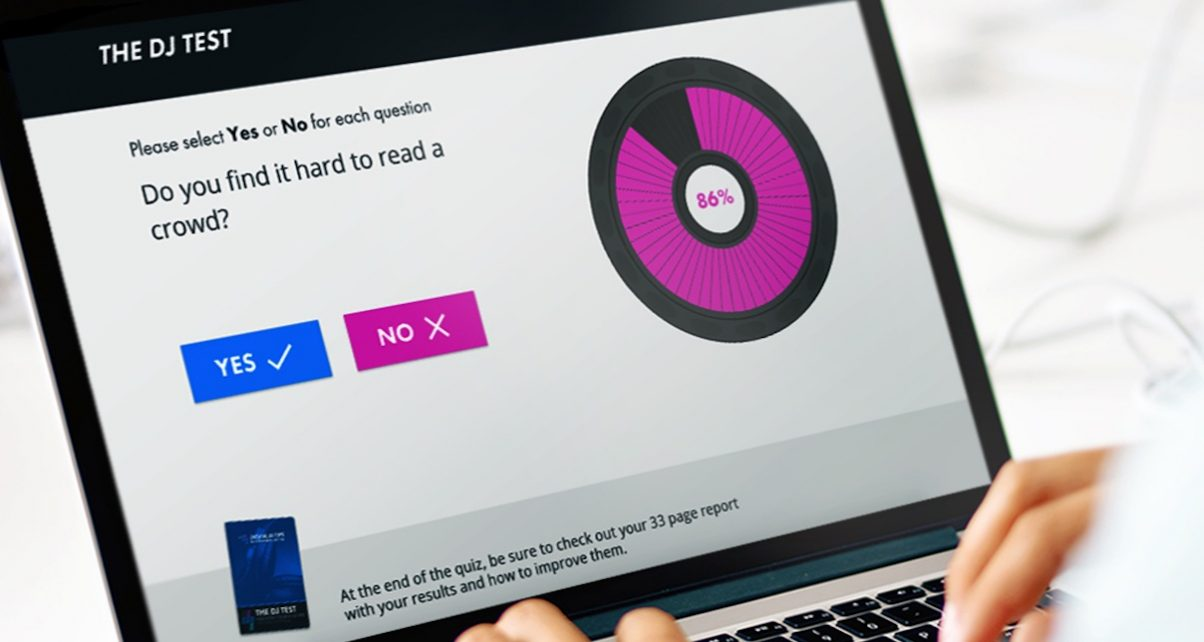 You can take the test on your laptop, mobile or tablet, and at the end of 40 simple yes/no questions, you'll get your DJ Score, and a free personalised training programme.