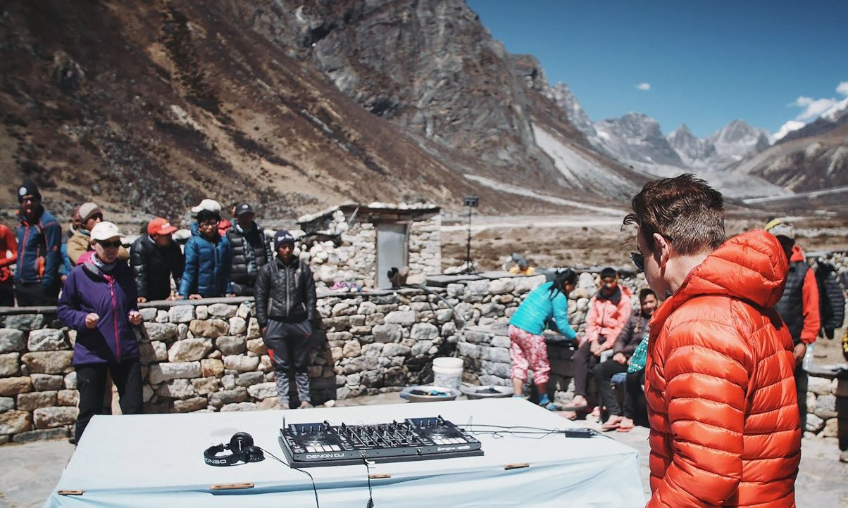 On top of the world: Oakenfold plays a practice gig on his trek towards Everest base camp. Pic: The Guardian