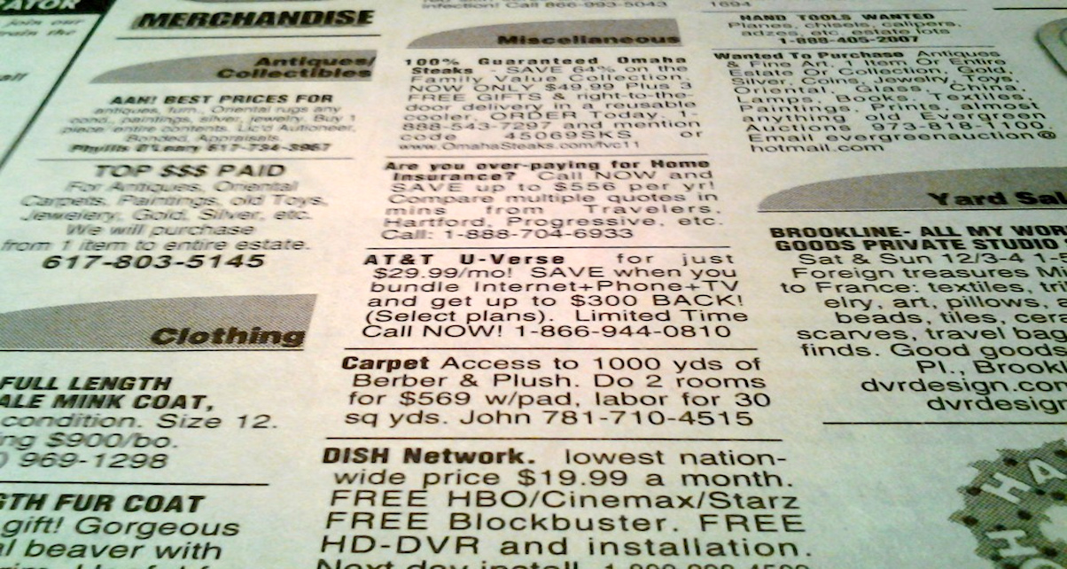 The classifieds section of local newspapers