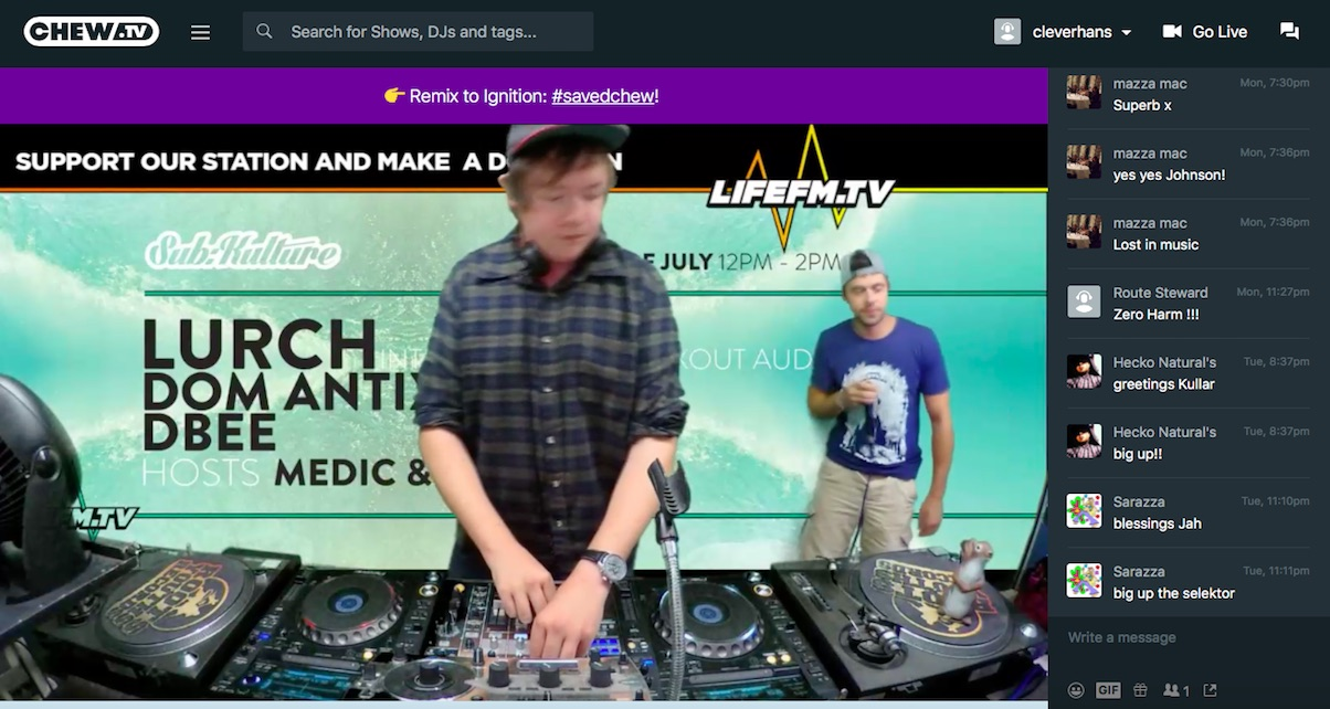 When you're watching a channel, there is the option to interact with the DJs and other listeners.
