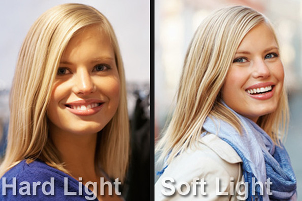 Comparison image of hard light and diffused light for video conferencing