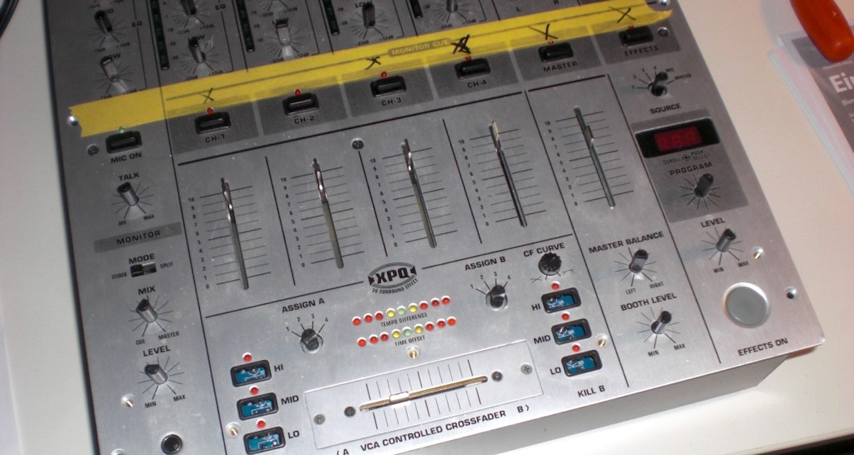 This mixer has had a tough time of it. Pack your gear properly to avoid losing caps or bending your faders.